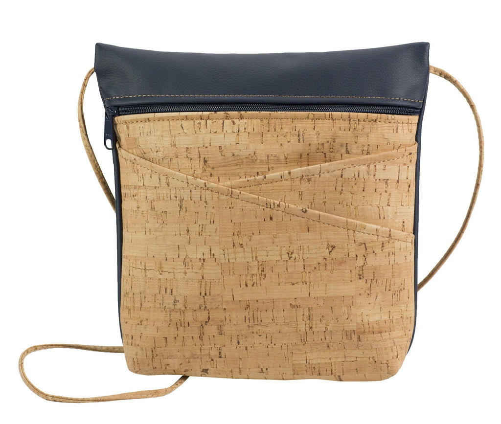Cross Body Bag with Slanted Pockets Navy Back
