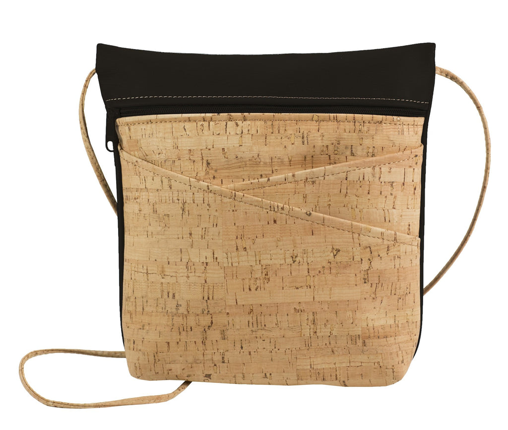 Cross Body Bag with Slanted Pockets Black Back
