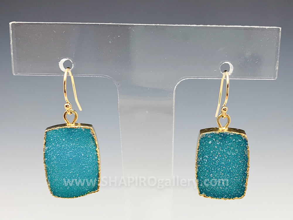 Teal Square Druzy Earrings