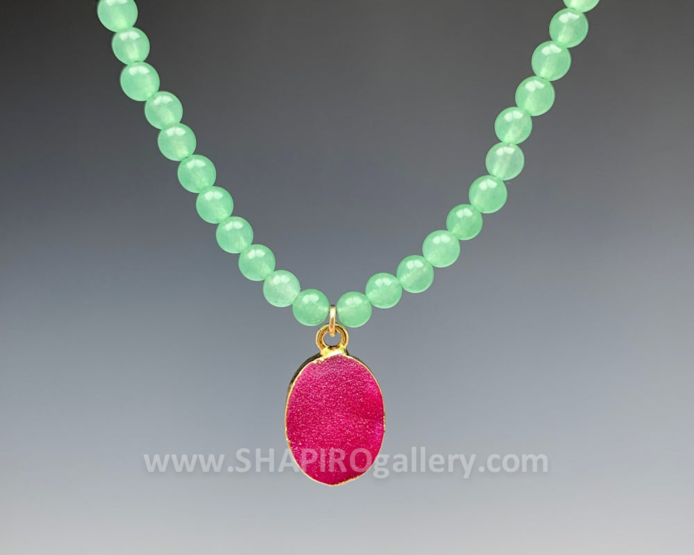 Green Jade with Pink Oval Druzy Necklace