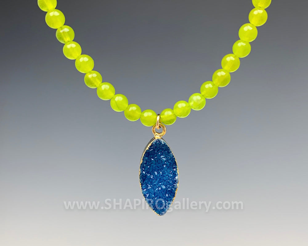 Olive Jade with Blue Druzy Necklace