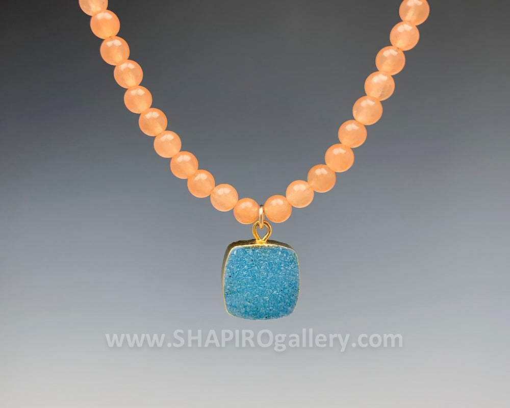 Peach Jade with Blue Druzy Necklace