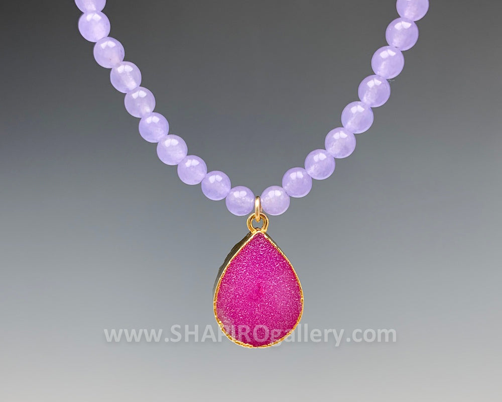 Purple Jade with Fuschia Druzy Necklace