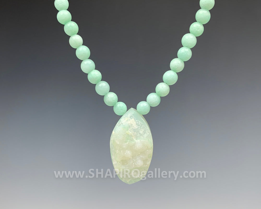 Aqua Jade with Aqua Druzy Necklace