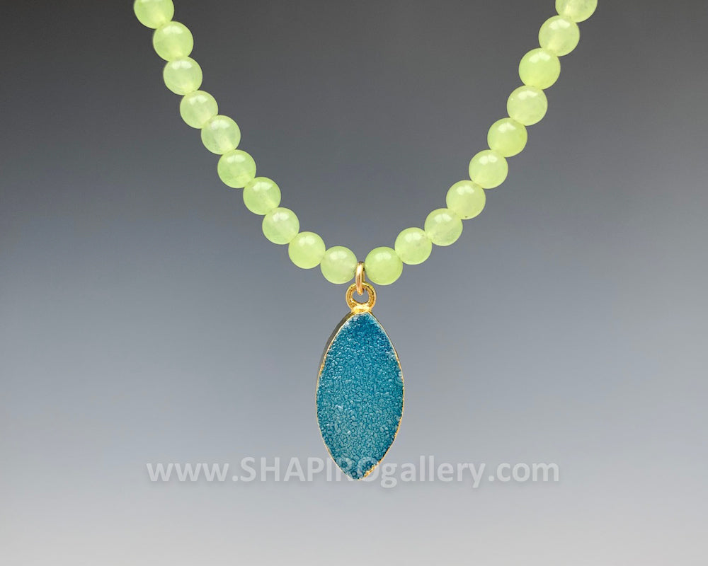 Light Olive Jade with Aqua Druzy Necklace