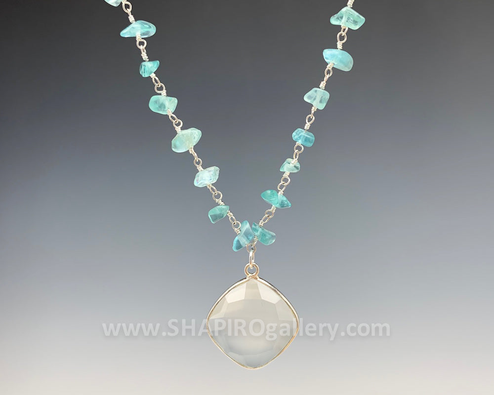 Apatite and White Chalcedony Necklace