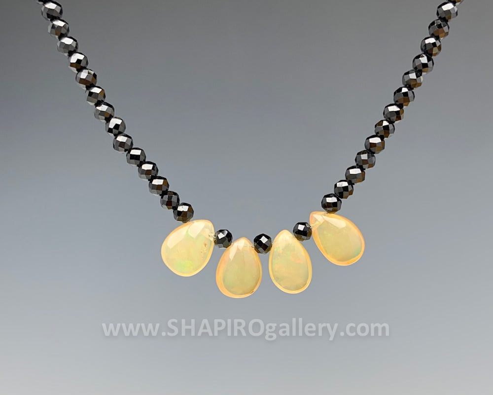 Black Spinnel and Ethiopian Opals Necklace
