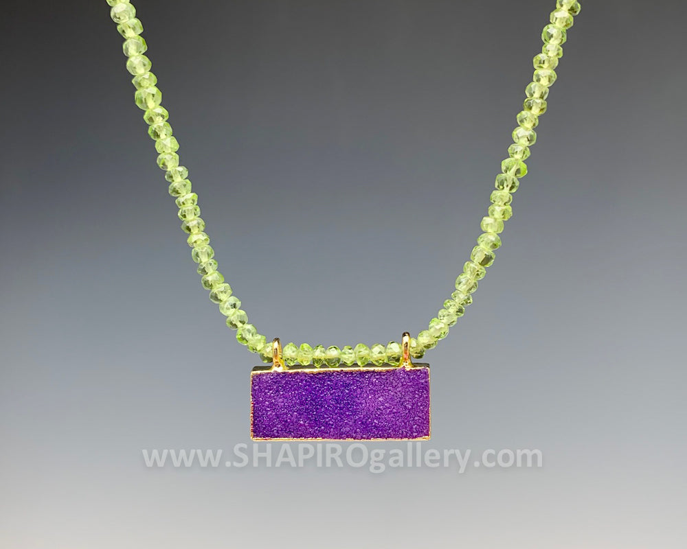 Peridot and Purple Druzy Necklace