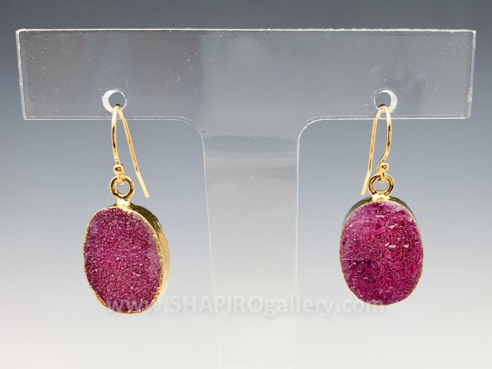 Plum Druzy Earrings