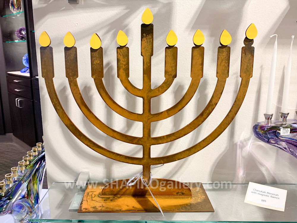 Menorah with Flame Magnets