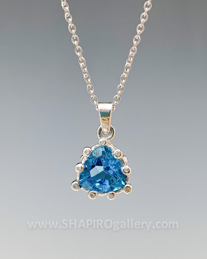 Blue Topaz and Diamond Triangle Necklace
