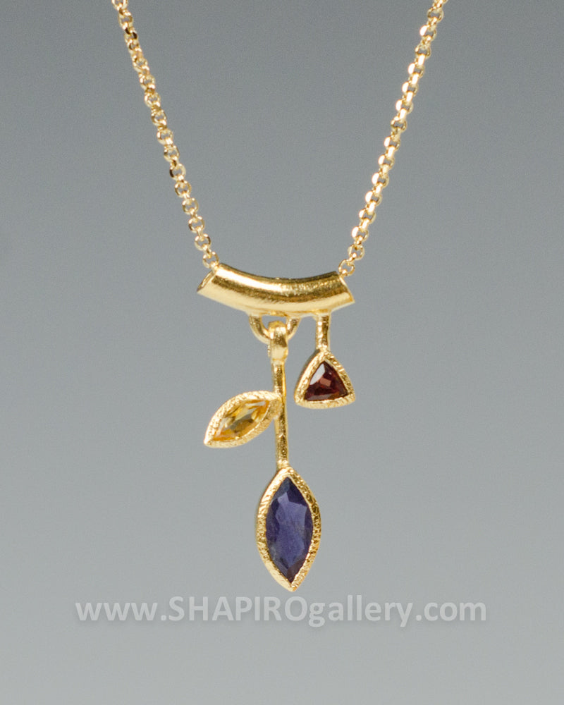 18K Three Stone Petal Necklace