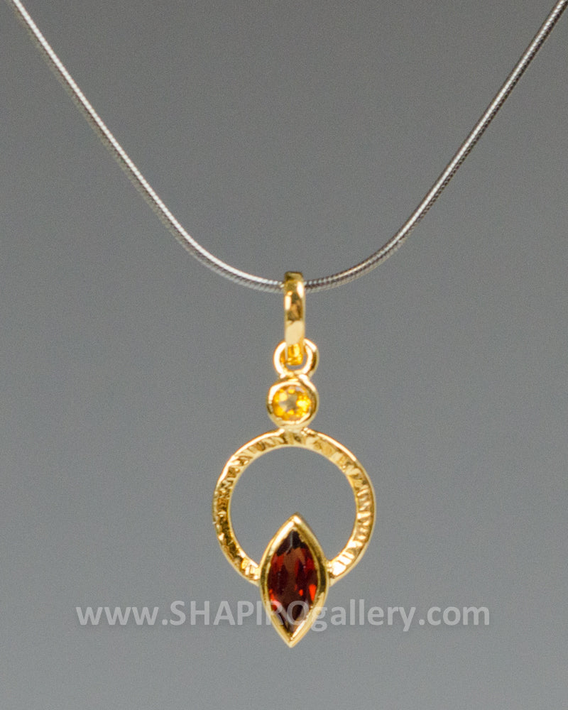 Garnet and Orange Saphire Circle Necklace