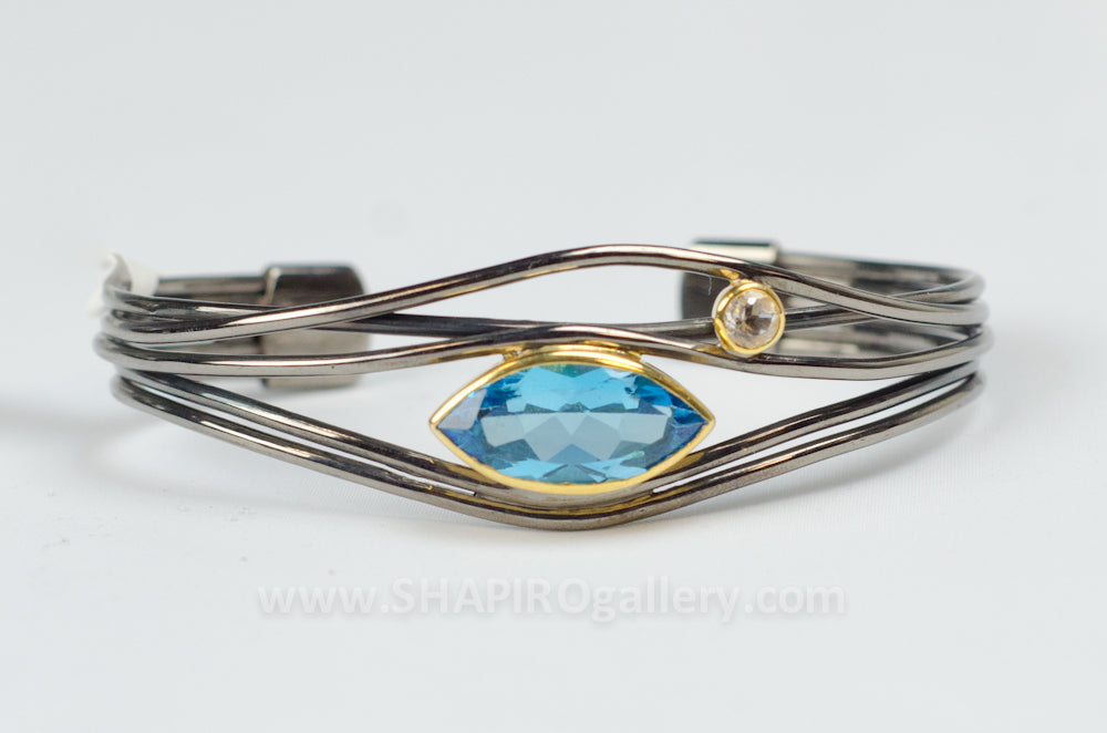 Edge Bracelet – Black Ruthenium & Blue Topaz