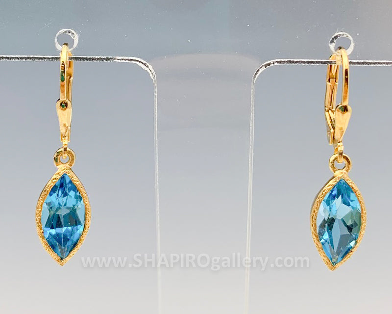 Gold Vermeil Blue Topaz Leaf Earrings