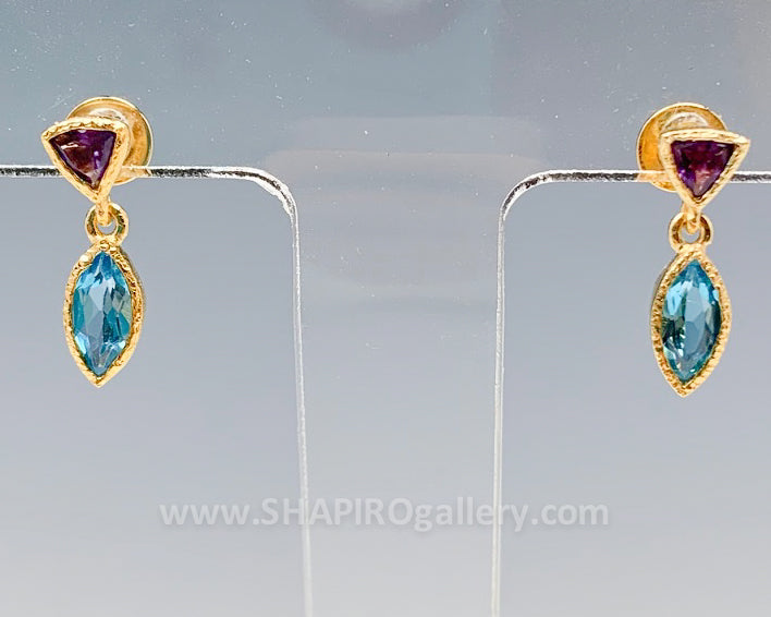 Gold Vermeil with Blue Topaz and Amethyst Petal Earrings