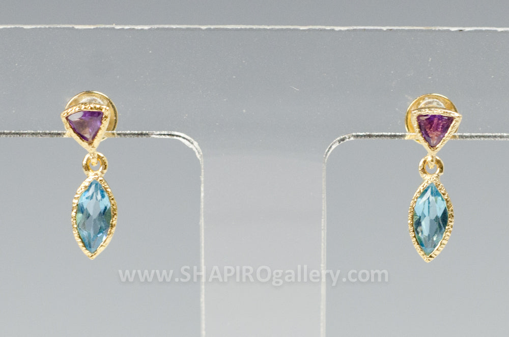 Amethyst and Blue Topaz Tiny Petal Earrings