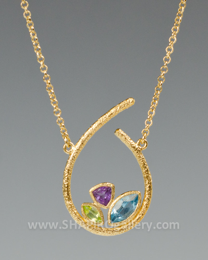 Loop Necklace with Blue Topaz, Amethyst and Peridot