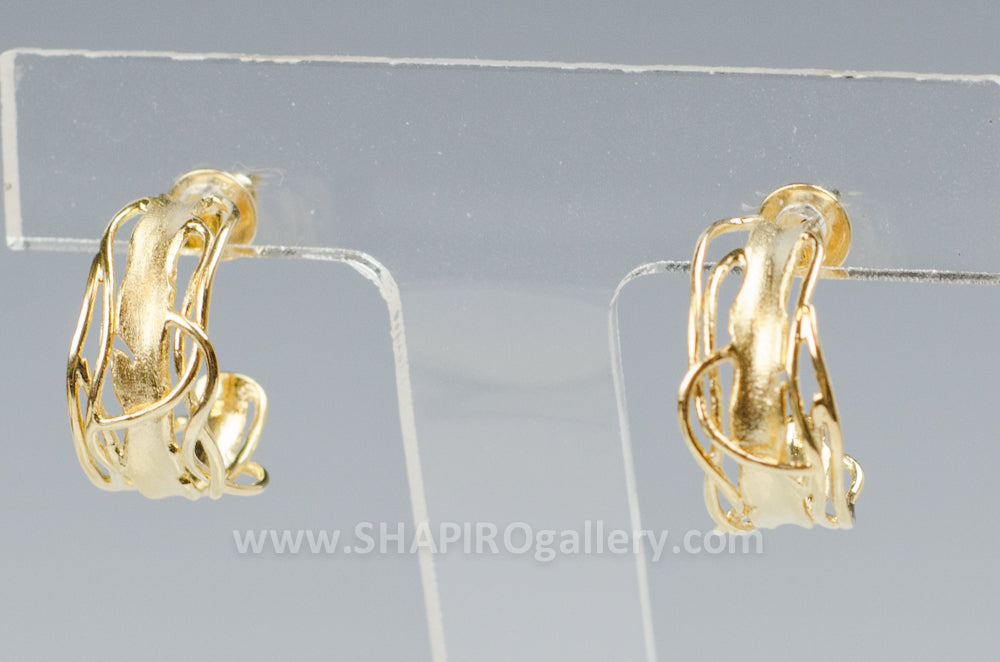 Gold Edge Post Earrings – Small