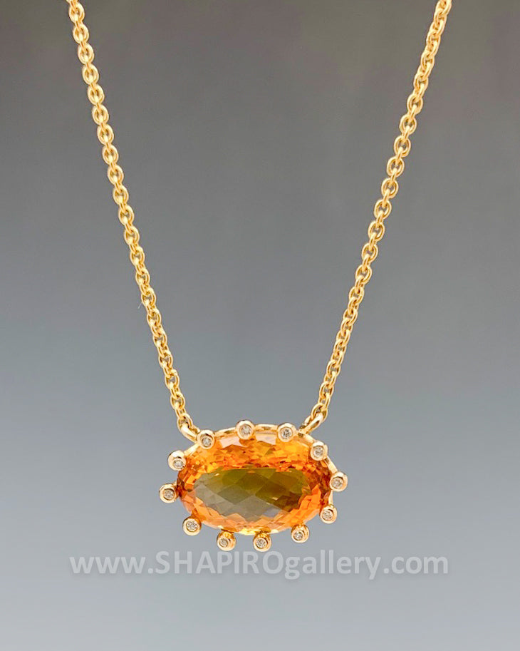 Citrine and Diamond Crown Necklace