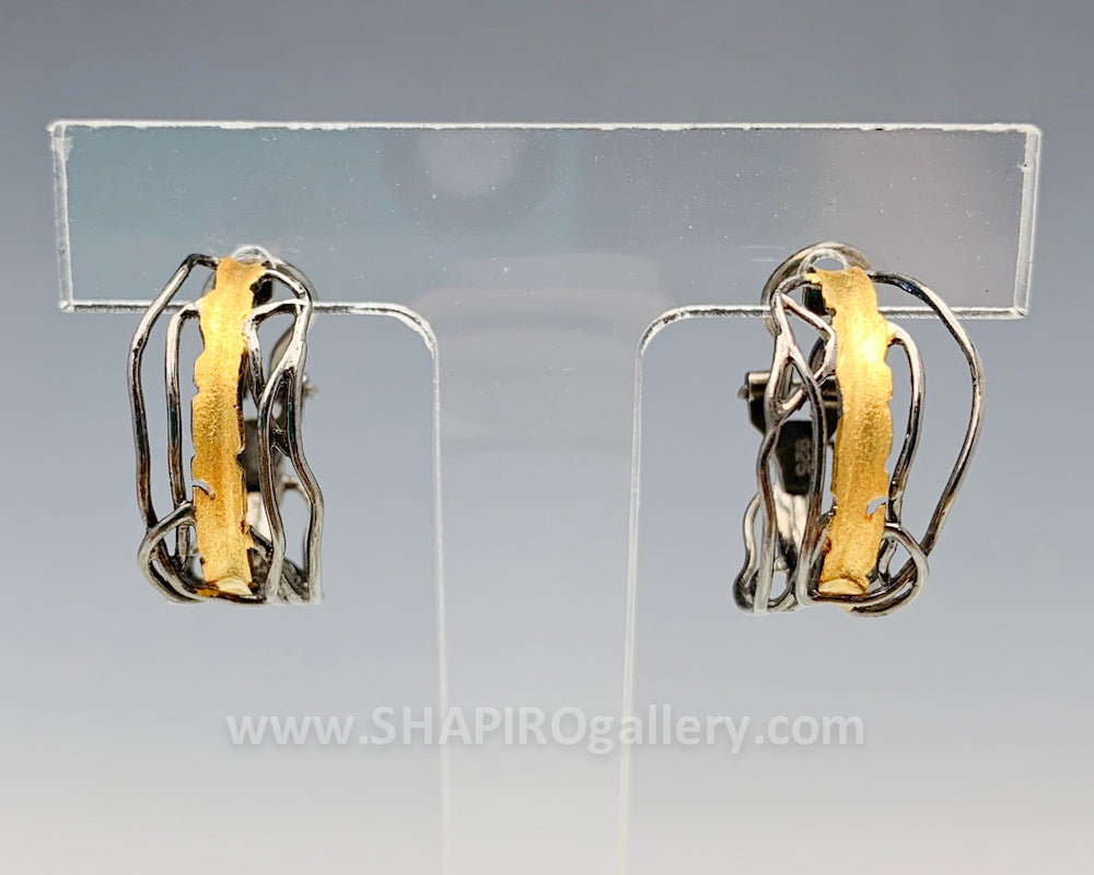 Black and Gold Edge Hoop Earrings