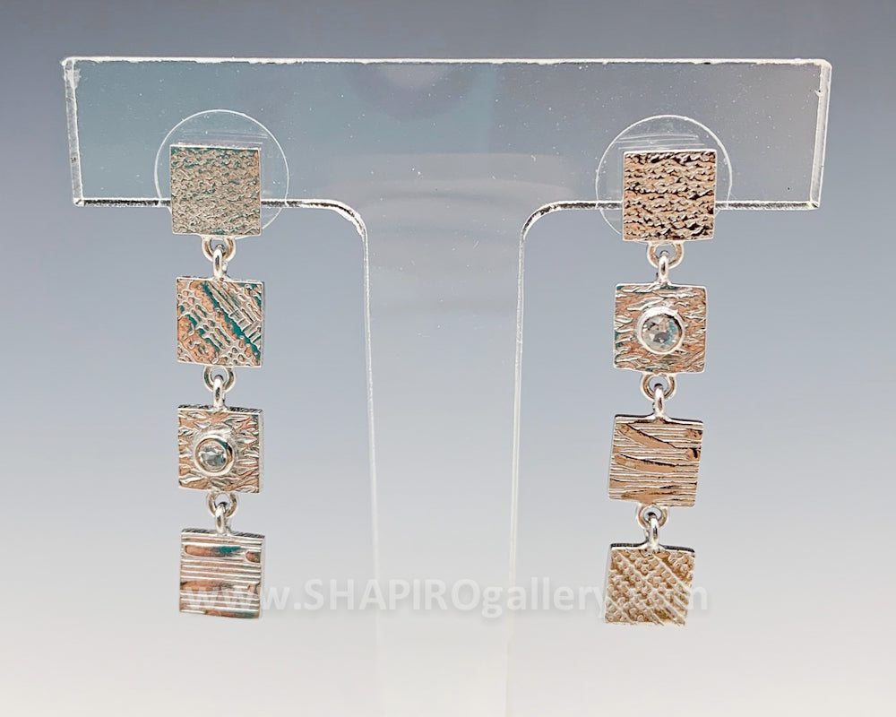 4 Tab Textured Earrings with White Sapphire