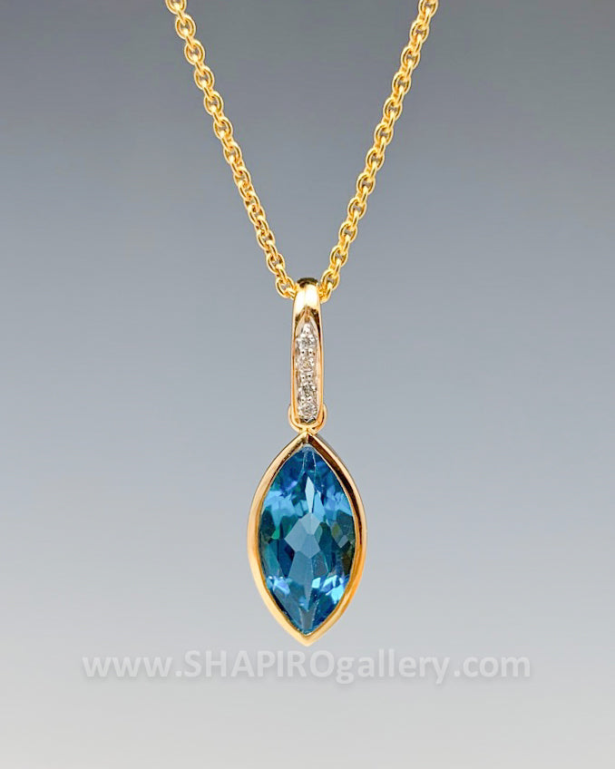 Blue Topaz and Diamond Marquis Necklace