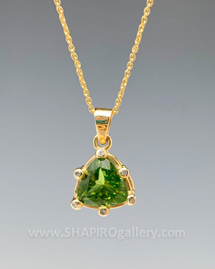 Peridot and Diamond Trillium Necklace