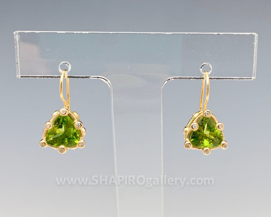 Peridot and Diamond Trillium Earrings