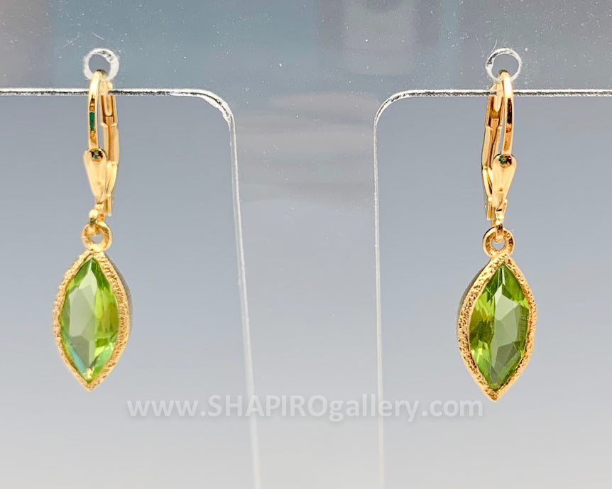 Gold Vermeil Peridot Leaf Earrings