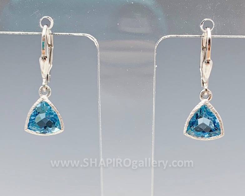 Blue Topaz Triangle Earrings