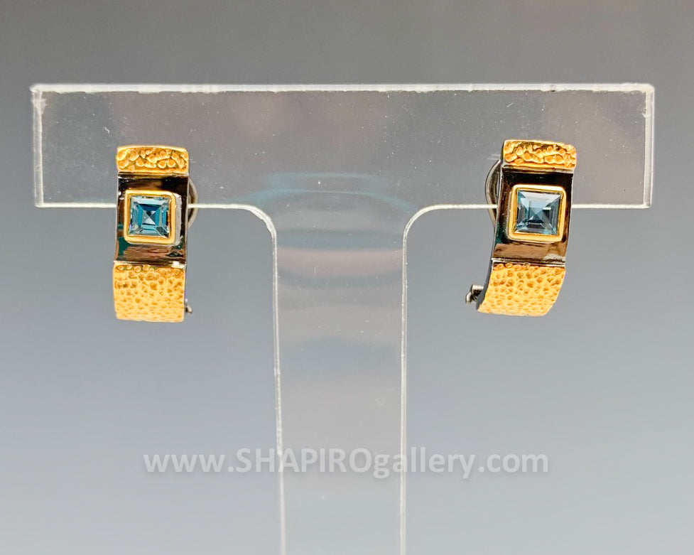 Black and Gold Blue Topaz Earrings