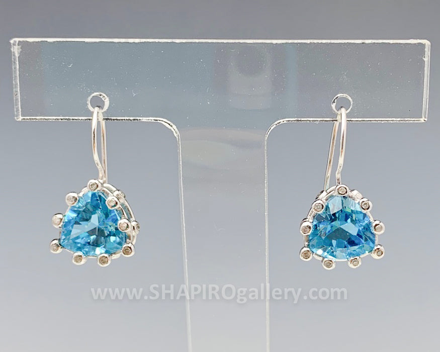 Blue Topaz and Diamond Triangle Earrings