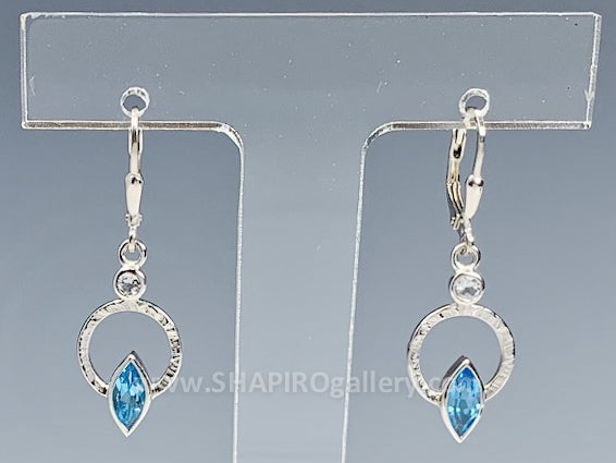 Blue Topaz and Cubic Zirconia Earrings