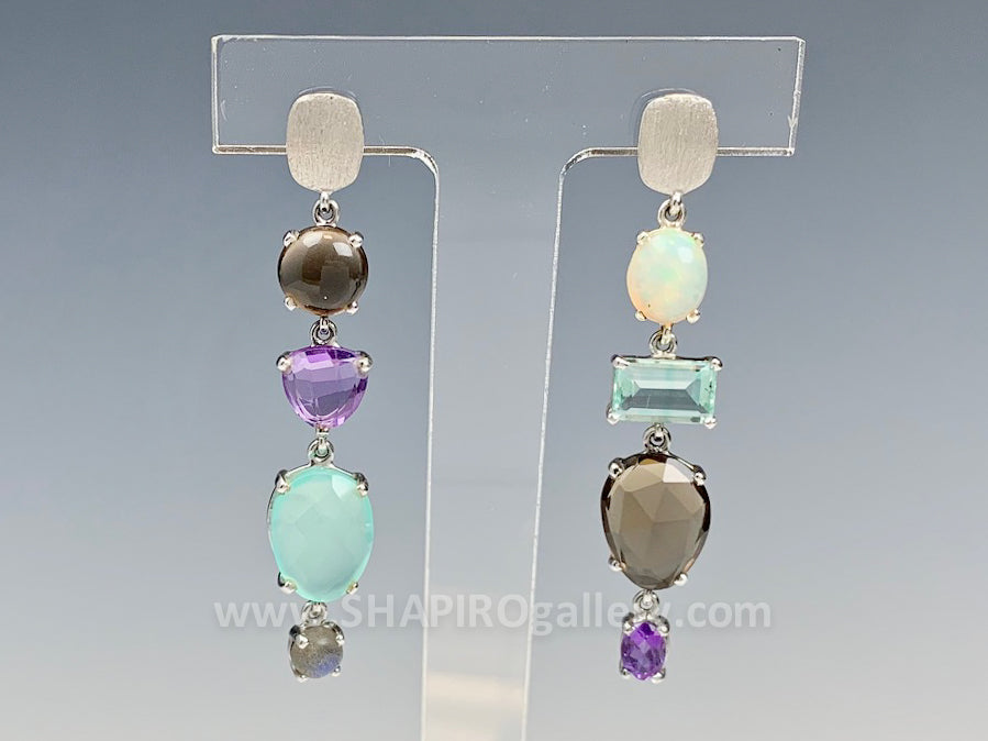 One of a Kind Multi Stone Earrings