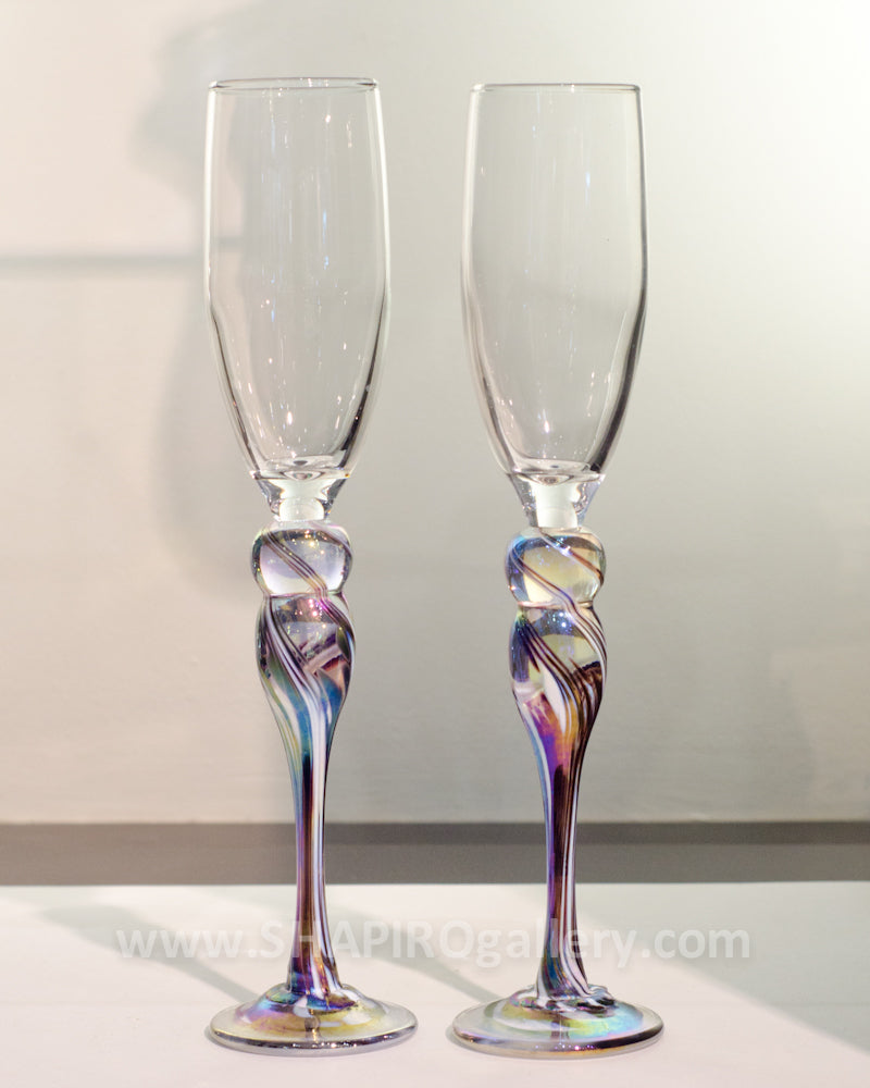 Pair of Blown Glass Champagne Flutes - Purple