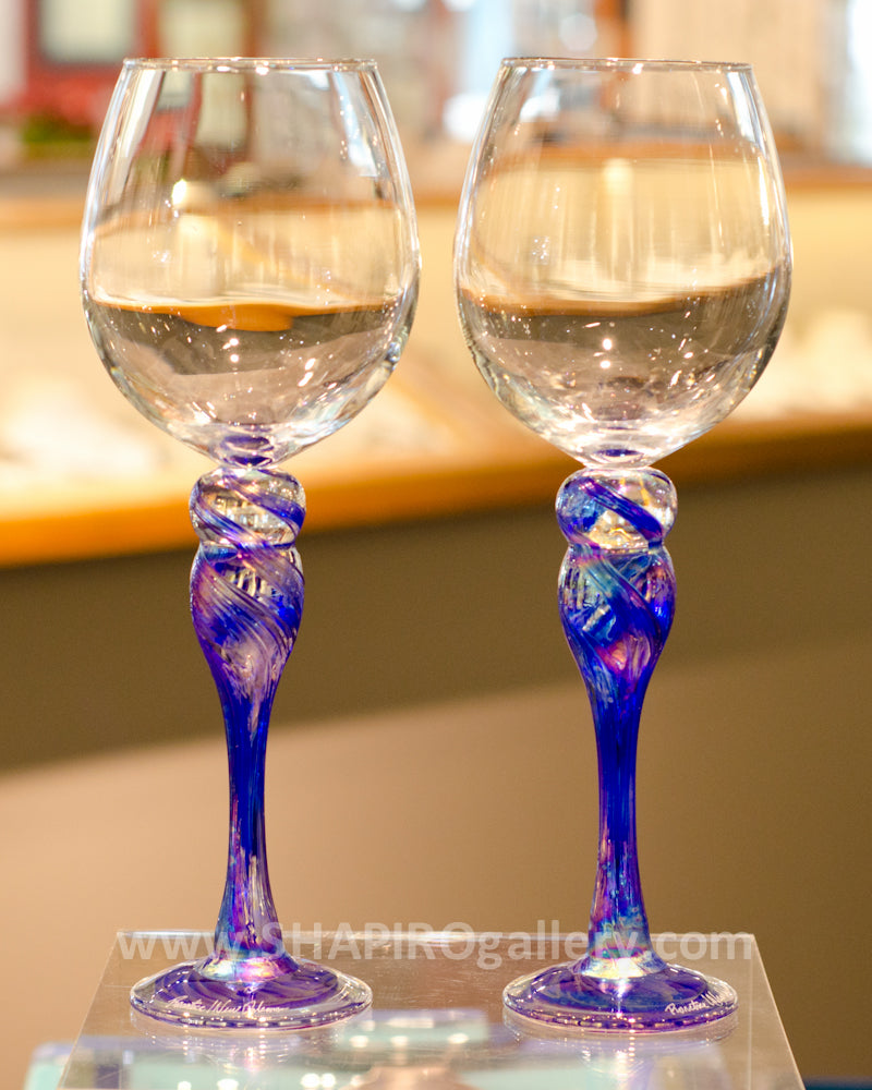 Pair of Blown Glass Wine Glasses - Blue