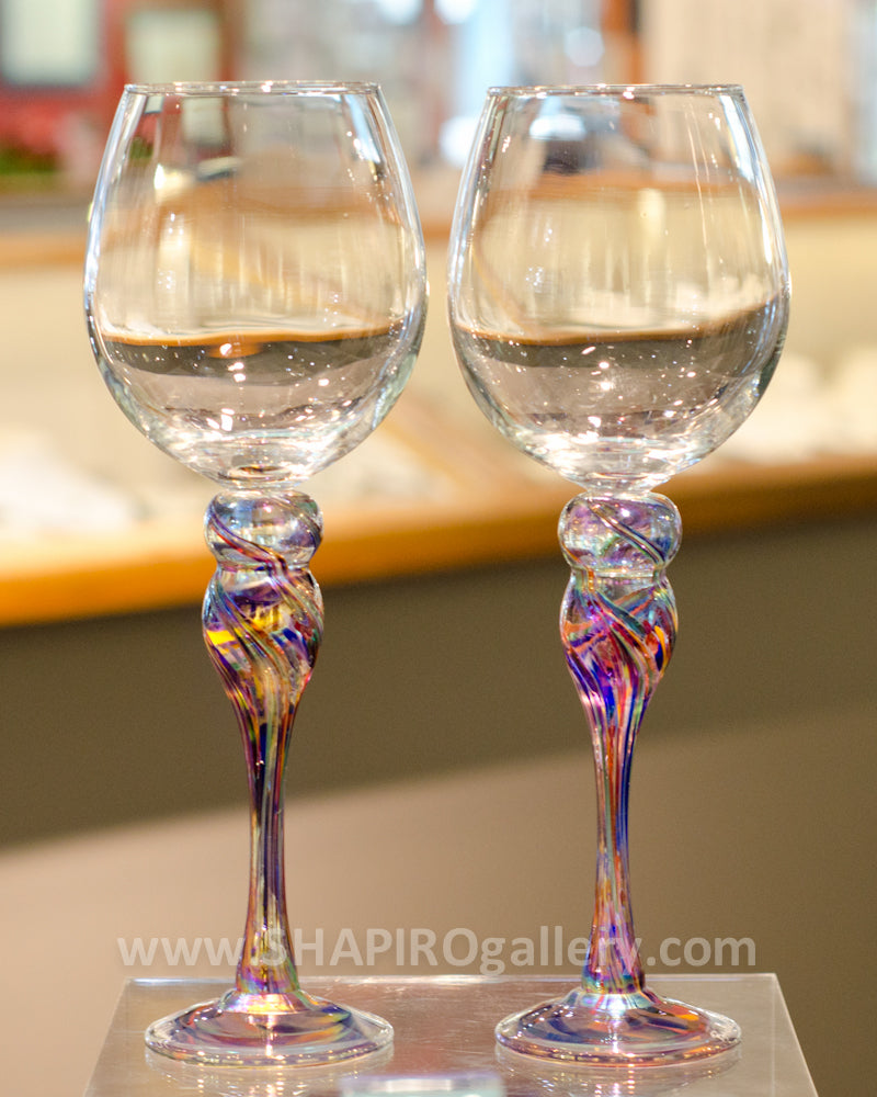 Pair of Blown Glass Wine Glasses - Rainbow
