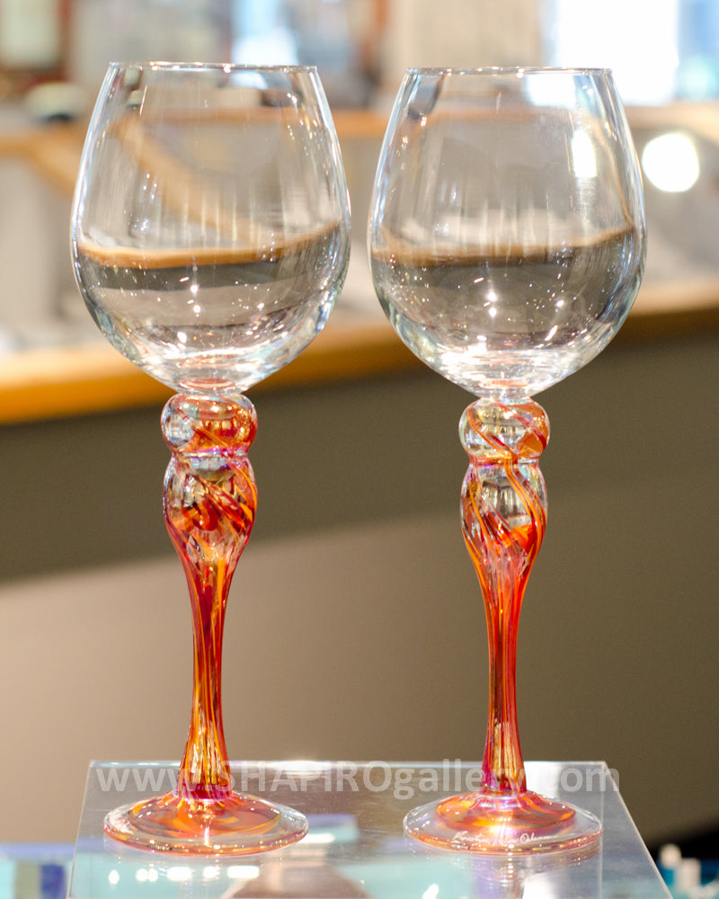 Pair of Blown Glass Wine Glasses - Red
