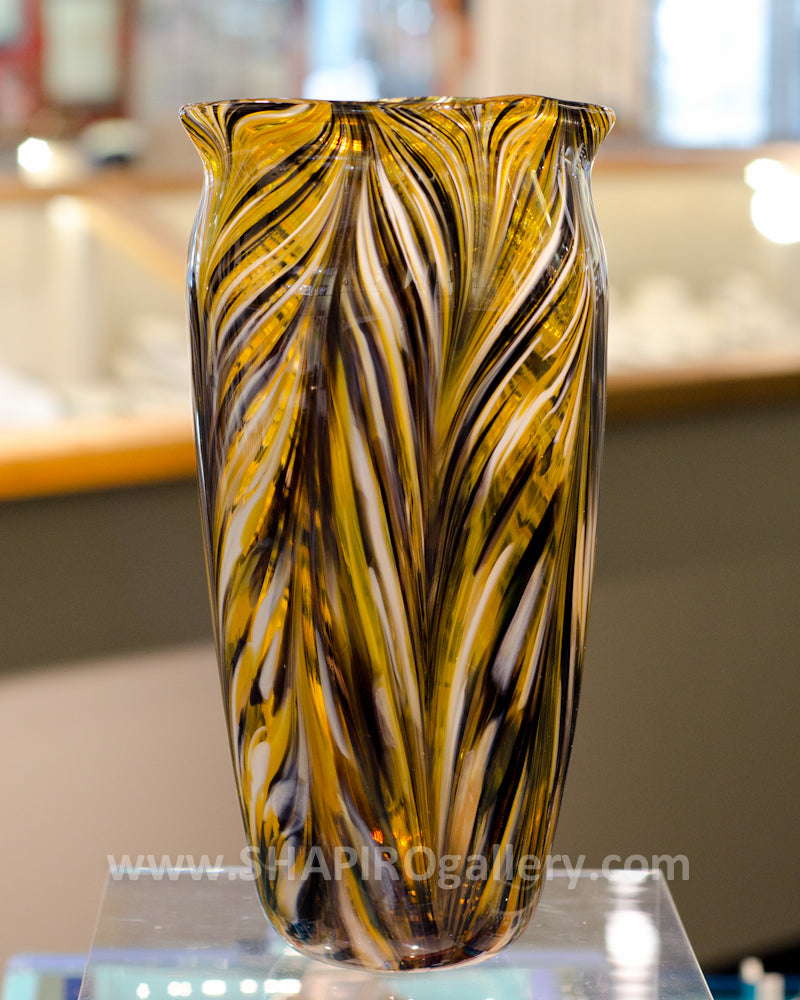 Black and Gold Blown Glass Vase