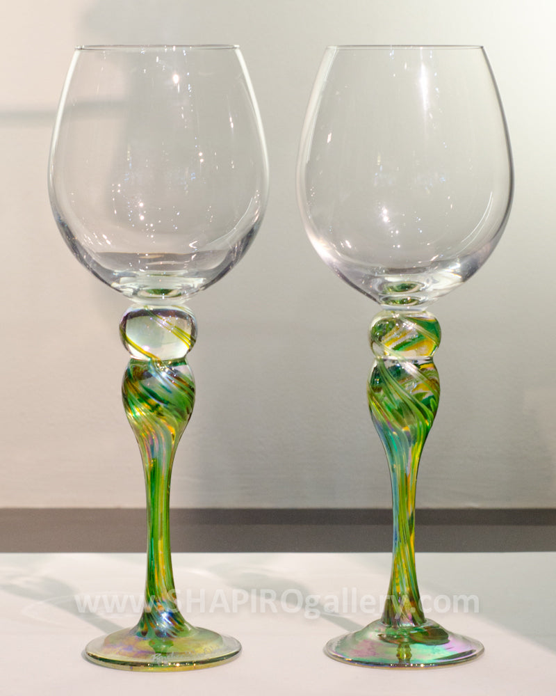 Pair of Blown Glass Wine Glasses - Green and Gold