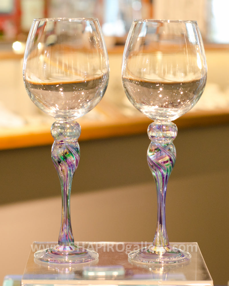 Pair of Blown Glass Wine Glasses - Cool Mix
