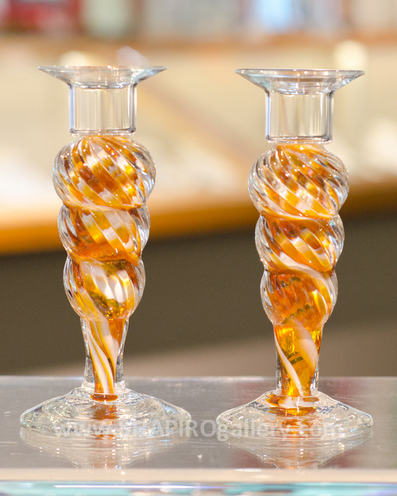 Blown Glass Candlesticks - Gold