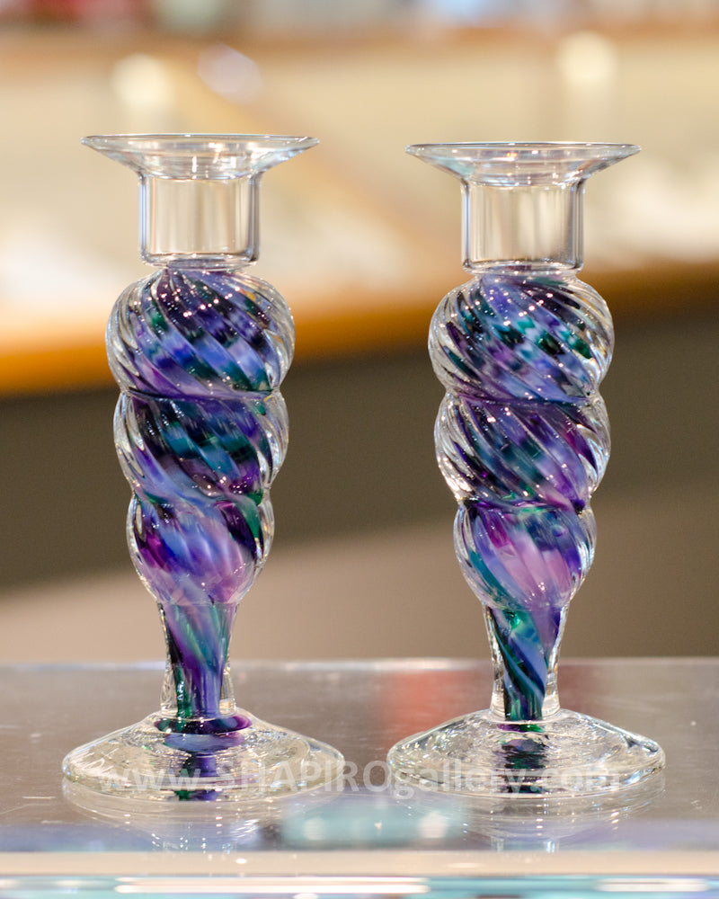 Blown Glass Candlesticks - Cool Mix