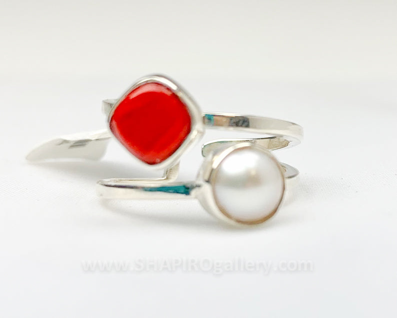 Coral and Pearl Ring