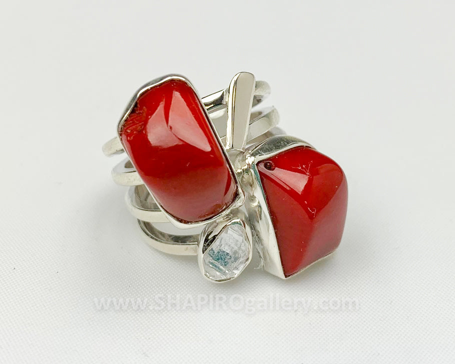 Coral and Herkimer Diamond Ring