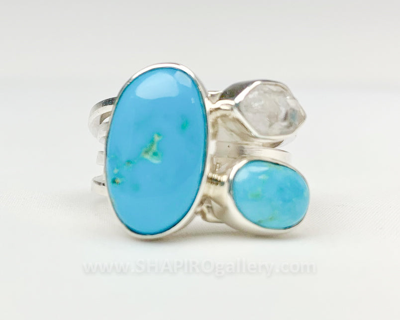 Turquoise and Herkimer Diamond Ring