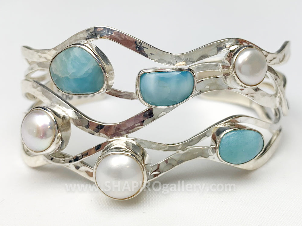 Larimar and Pearl Bracelet