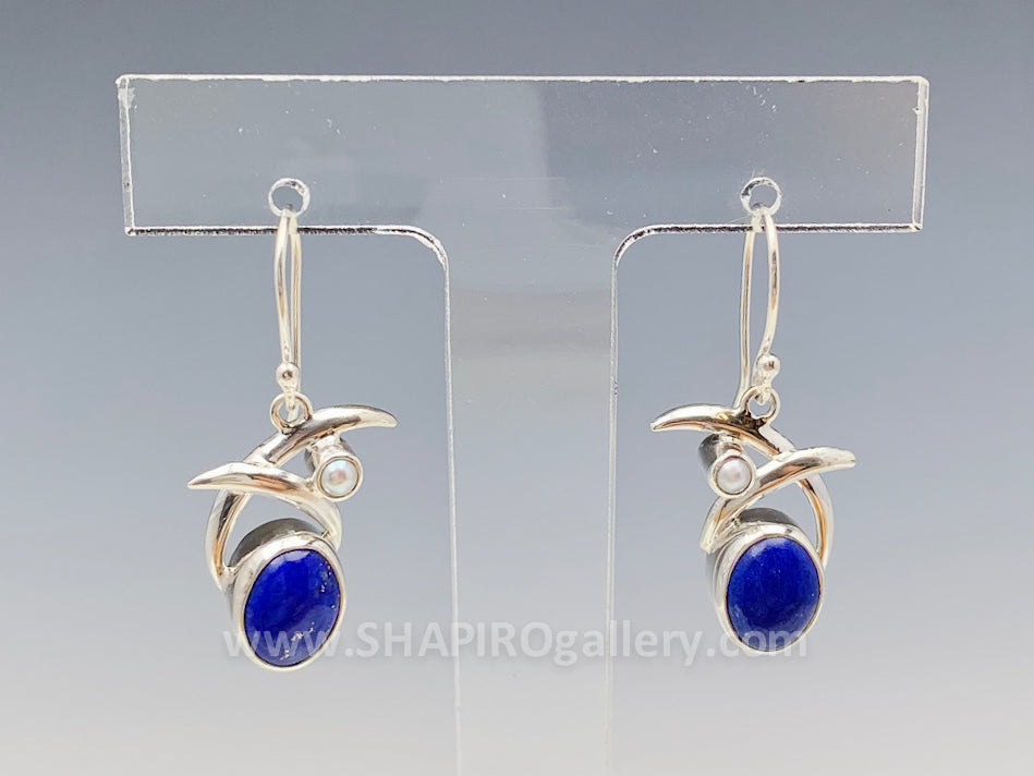 Double Swoop with Lapis and Pearl Earrings