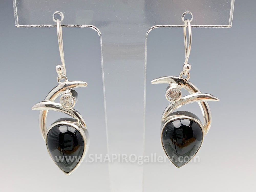 Double Swoop with Onyx and Cubic Zirconia